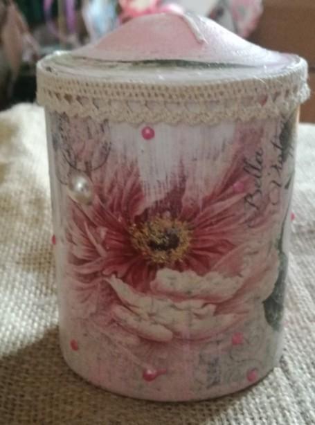 Κερί μπομπονιέρα βάπτισης ντεκουπάζ με λουλούδια