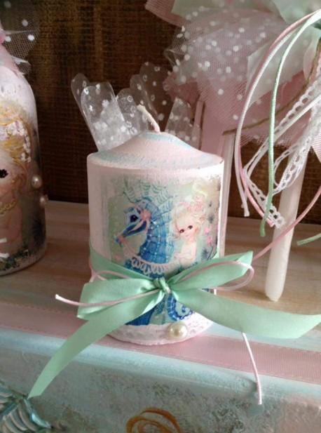 Κερί μπομπονιέρα βάπτισης ντεκουπάζ γοργόνα-ιππόκαμπο