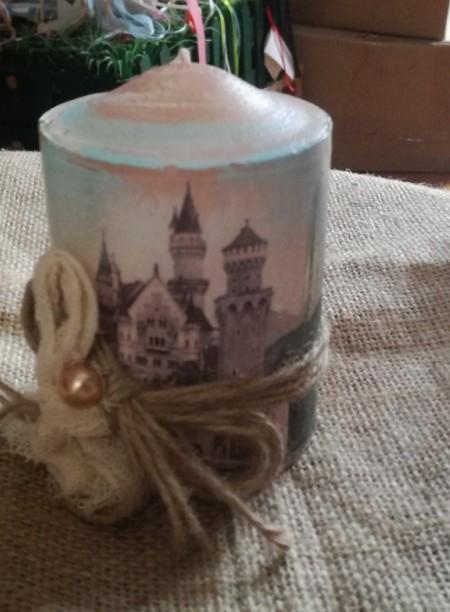 Κερί μπομπονιέρα βάπτισης ντεκουπάζ με κάστρο ιππότη
