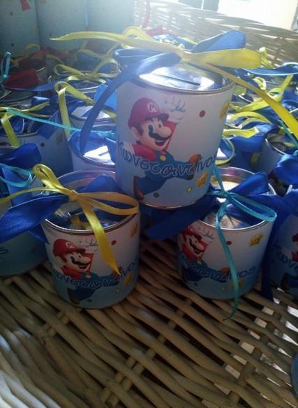 Βάπτισης κουτί μεταλλικό κουμπαράς μπομπονιέρα με τον Super Mario