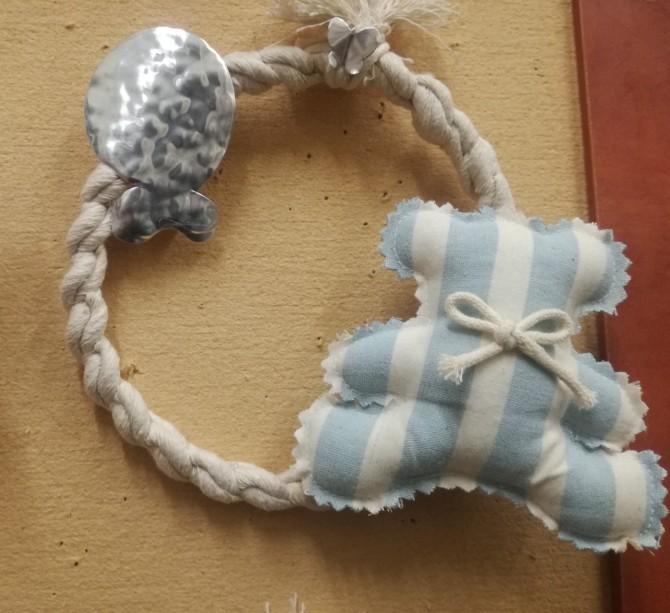 Ονειροπαγίδα αρκουδάκι μπλε πάνινη μπομπονιέρα βάπτισης