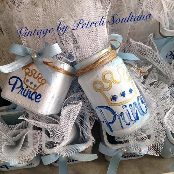 Μπομπονιέρα βάπτισης βαζάκια γυάλινα με Πρίγκιπα-κορόνα
