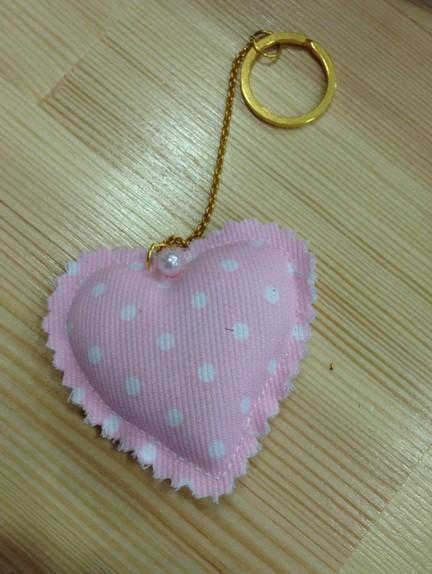 Vintage βάπτισης μπομπονιέρα μπρελόκ με καρδιά μαξιλαράκι πουά ροζ