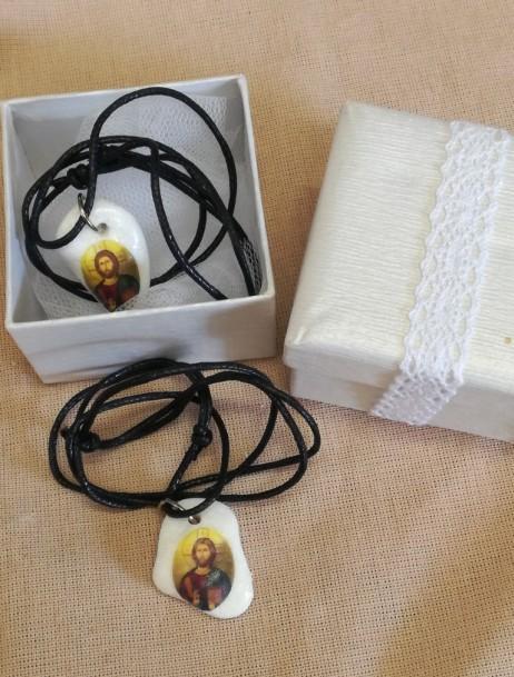 Μπομπονιέρα βάπτισης εικόνα Χριστού κολιέ με πέτρα