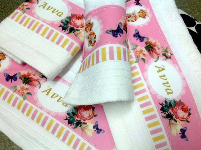 Πετσέτα με εκτυπωμένο θέμα φλοράλ-πεταλούδες μπομπονιέρα βάπτισης