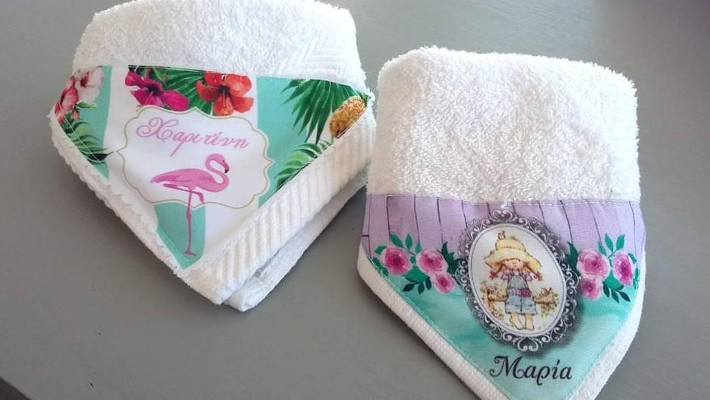 Πετσέτα εκτυπωμένη με sarah kay και φλαμίνγκος μπομπονιέρα βάπτισης