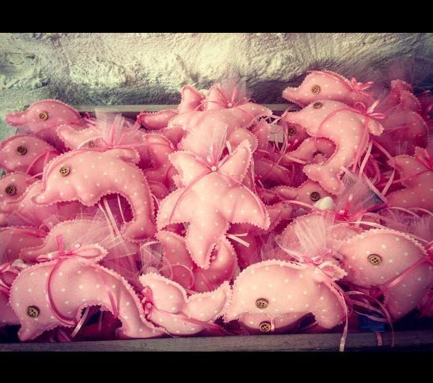 Βάπτισης μπομπονιέρα σε ροζ αστερία και δελφίνι μαξιλαράκια