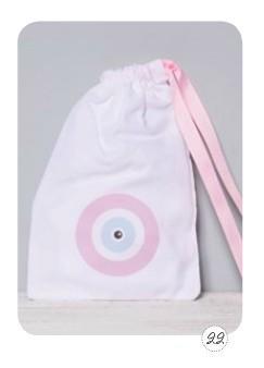 Μάτι ροζ θέμα σακίδιο πλάτης μπομπονιέρα βάπτισης