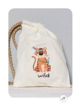 Άγρια-wild Τίγρη σε σακίδιο πλάτης μπομπονιέρα βάπτισης