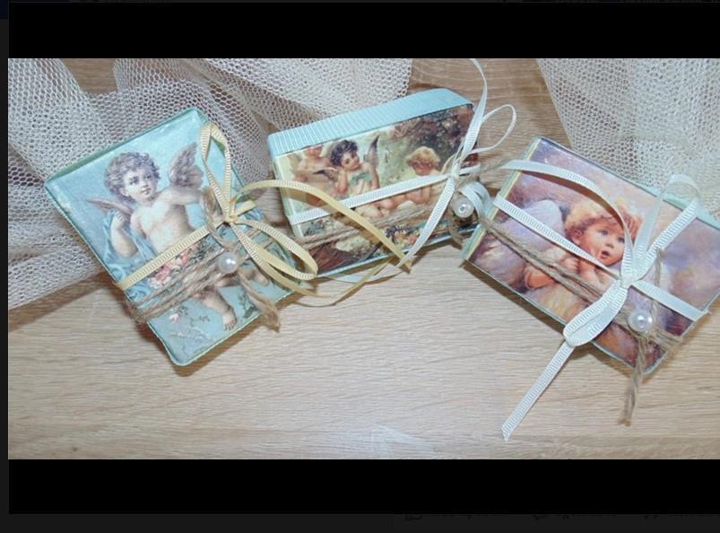 Ρετρό μπομπονιέρα βάπτισης με αγγελάκια Αναγέννησης