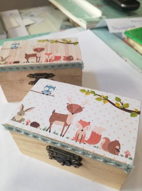 Οικονομική μπομπονιέρα βάπτισης κουτί σεντούκι με ζωάκια δάσους