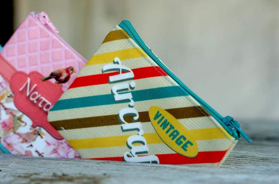 Τσαντάκι-πορτοφόλι εκτυπωμένο με πουλάκια μπομπονιέρα βάπτισης
