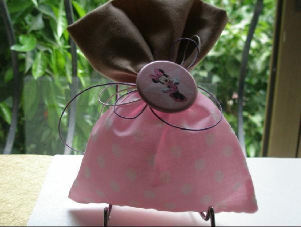 Πουγκί λινό μπεζ-πουά ροζ και κονκάρδα την Μίνι μπομπονιέρα βάπτισης