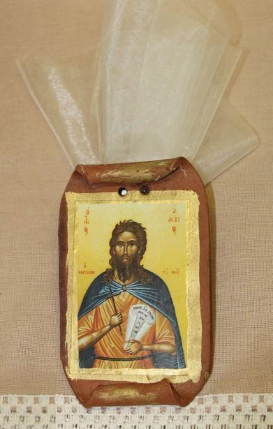 Με εικόνα Αγίου Αλέξιου σε πάπυρο κεραμικό βάπτισης μπομπονιέρα