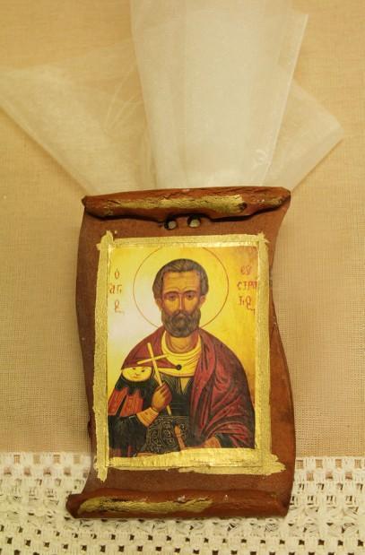 Μπομπονιέρα βάπτισης εικόνα Άγιος Ευστράτιος πάπυρος πλαϊνά κοψίματα