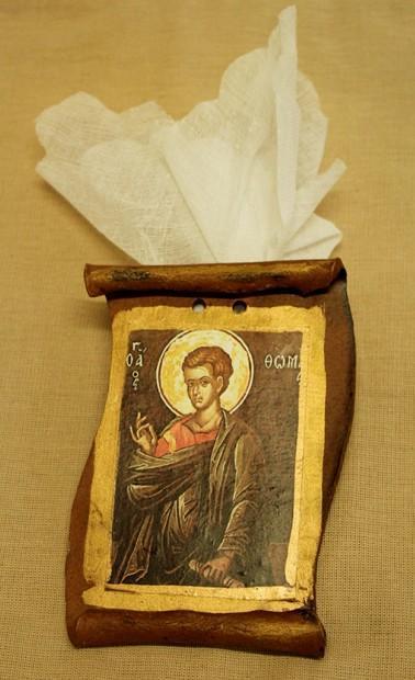 Εικόνα Άγιος Θωμάς σε μπομπονιέρα βάπτισης κεραμικός πάπυρος