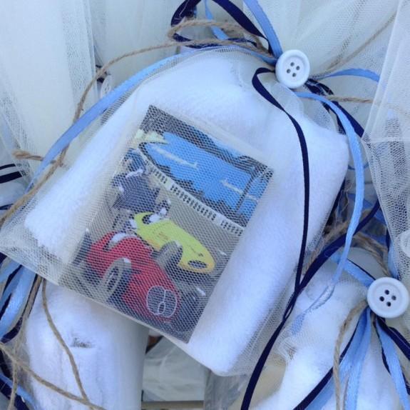 Cars-φόρμουλες ρετρό σαπουνάκι+πετσέτα για μπομπονιέρα βάπτισης