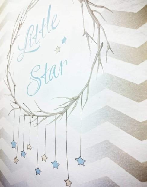 Πίνακας ευχών βάπτισης μικρό αστέρι σε καμβά ζωγραφική
