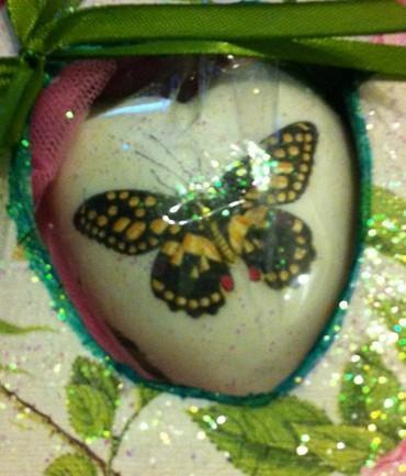 Σαπουνάκι βάπτισης μπομπονιέρα με θέμα πεταλούδα σε decoupage.