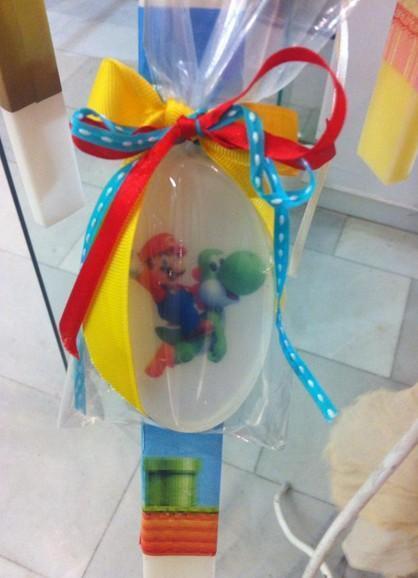 Σαπουνάκι με τον Σούπερ Μάριο σε μπομπονιέρα βάπτισης χειροποίητη