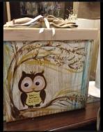 Βαπτιστικών κουτί με την κουκουβάγια