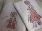 Κοριτσάκι για νάνι λαδόπανα ζωγραφική