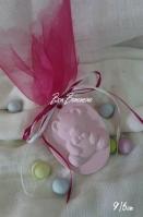 Μίνιμαλ κεραμικό καδράκι αρκουδάκι ροζ