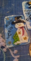 Καδράκι πορσελάνης με χιονάνθρωπο