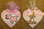 Γουρουνίτσα και γατούλα σε καρδιά decoupage