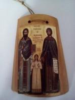 Εικόνα σε κεραμίδι οι Άγιοι Ραφαήλ-Νικόλαος-Ειρήνη