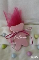Κεραμική μπομπονιέρα βάπτισης αρκουδάκι ροζ