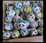 Ξύλινες χειροποίητες σβούρες αρκουδάκι panda