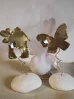Πέτρα σταντ πεταλούδα-σπιτάκι μεταλλικά