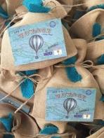 Αερόστατο καδράκι σε vintage πουγκί
