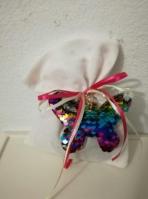 Πουγκί με μπρελόκ πεταλούδα πούλιες χρώματα