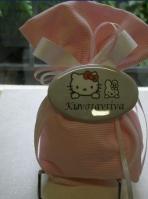 Πουγκί σε γκρο ριγέ ροζ με κονκάρδα οβάλ με την Κίττυ