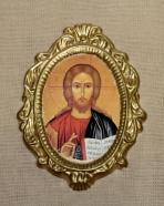 Οβάλ μικρή κεραμική εικόνα του Χριστού.