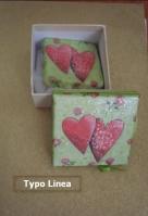 Κουτί και καρδιές decoupage σε σαπουνάκι.