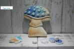 Μπλε μανιτάρι κεραμικό με γκλίτερ