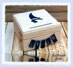 Μπλε ναυτικό θέμα βαρκούλα σε κουτί ευχών