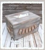 Κουτί βαπτιστικών με θέμα βαρκούλα από ξύλο