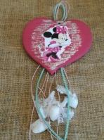 Η Μίνι θέμα σε καρδιά πήλινη κρεμαστή