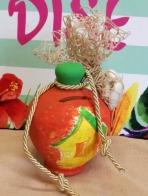 Σπιτάκι κουμπαράς πήλινος ντεκουπάζ