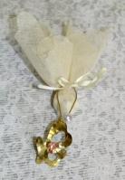 Μπρελόκ με πεταλούδα από ορείχαλκο με πέρλα