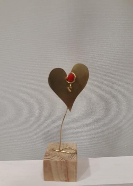 Σταντ με διπλές καρδιές μεταλλική χειροποίητη μπομπονιέρα βάπτισης