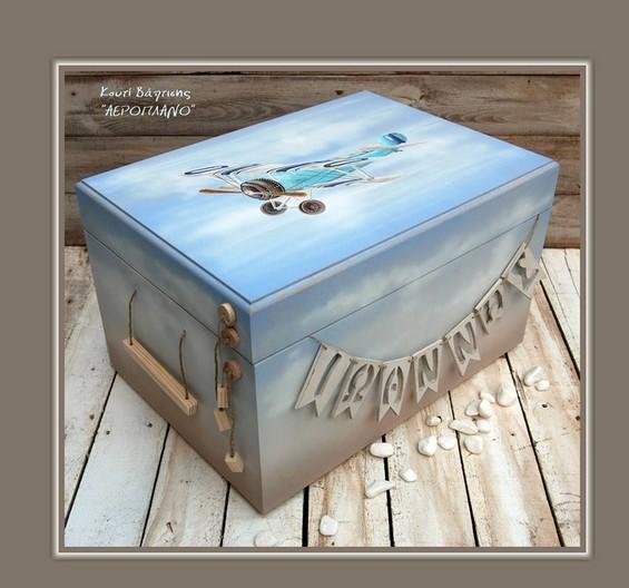 Στο χέρι ζωγραφισμένο κουτί βαπτιστικών αεροπλάνο vintage με όνομα