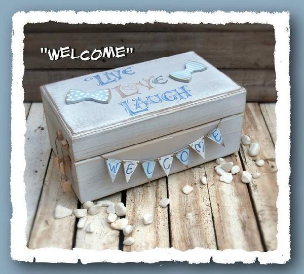 Δώρο κουτί για την γέννηση του παιδιού σας με ευχές αγάπη-γέλιο-ζωή
