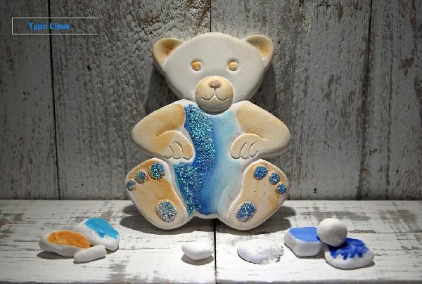 Mπομπονιέρα βάπτισης κεραμική με θέμα το αρκουδάκι για αγοράκι
