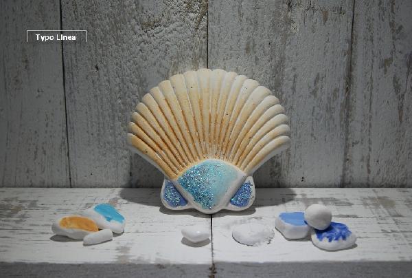 Aχοιβάδα κεραμική μπομπονιέρα βάπτισης ζωγραφιστή ελληνική στο χέρι