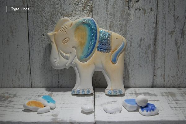Ελεφαντάκι κεραμική χειροποίητη και ζωγραφιστή μπομπονιέρα βάπτισης